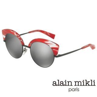 【alain mikli 法式巴黎】捌零復古藝術圓弧上翹貓眼眉框造型太陽眼鏡(艷紅 AL4007-001)