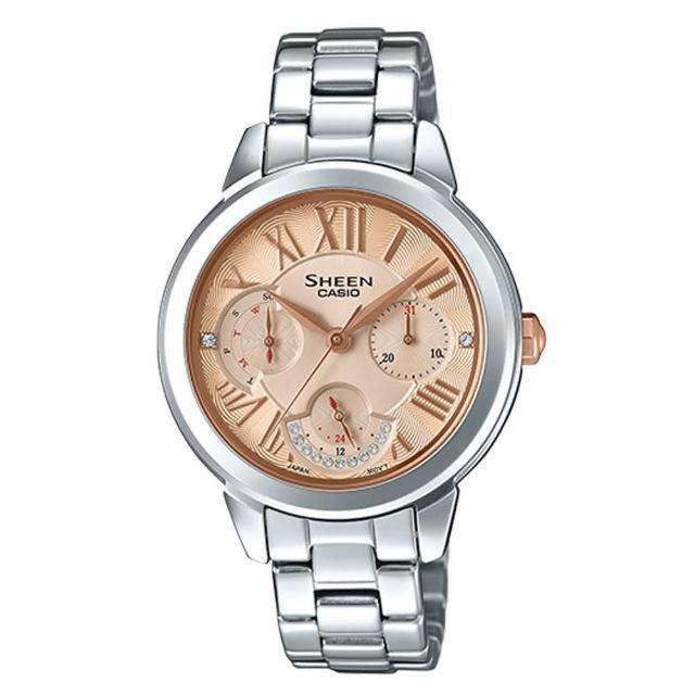 【CASIO 卡西歐】三眼女錶 不鏽鋼錶帶 玫瑰金 防水50米 施華洛世奇水鑽(SHE-3059D-9A)