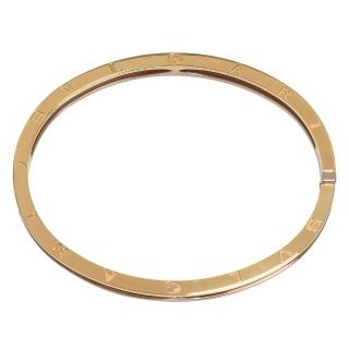 【BVLGARI 寶格麗】經典B.zero1系列品牌字母烙印三色K金壓釦橢圓手環(M/L-BR857847)