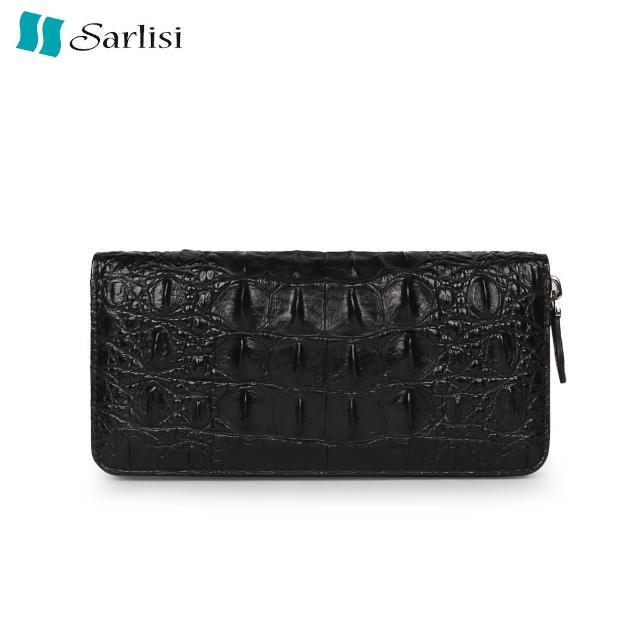 【Sarlisi】尊品鱷魚皮背骨拉鏈手拿包(黑色)