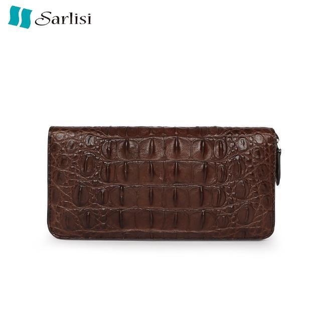 【Sarlisi】尊品鱷魚皮背骨拉鏈手拿包(咖啡色)