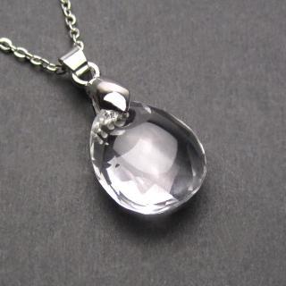 【LuckyPlus】天然特A級白水晶切面水滴長版項鍊(可挑選鍊長)