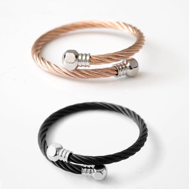 【玖飾時尚】個性螺絲帽鋼索手環(手環)