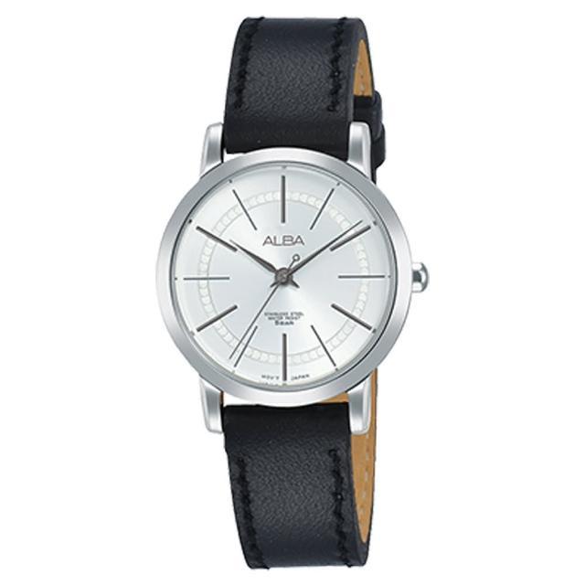 【ALBA】送禮首選 石英女錶 皮革錶帶 銀白 防水50米(AH8421X1)