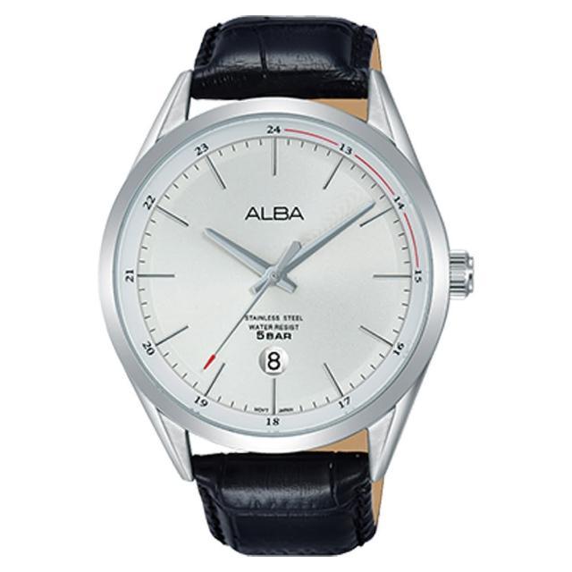 【ALBA】送禮首選 英男錶 皮革錶帶 銀白 防水50米 日期顯示(AS9D41X1)