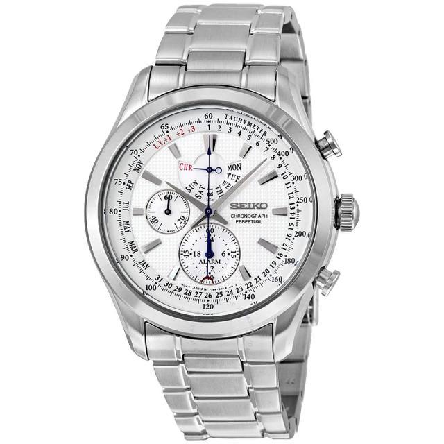 【SEIKO 精工】三眼計時男錶 不鏽鋼錶帶 銀 防水100米 萬年歷(SPC123P1)