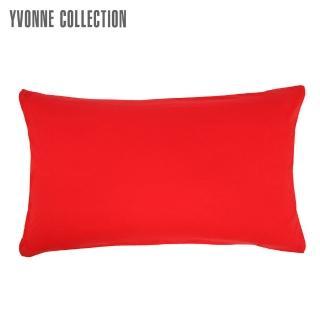 【Yvonne Collection】義大利床組枕套-淺灰(正面-紅/背面-淺灰)