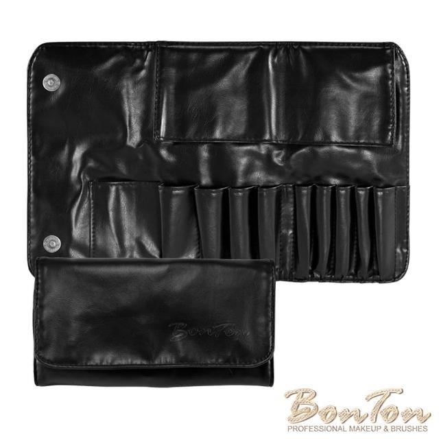 【BonTon】9支時尚黑軟皮雙磁扣刷包
