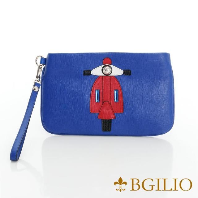【義大利BGilio】復古摩托車十字紋牛皮小巧萬用包-藍色(2282.001-09)