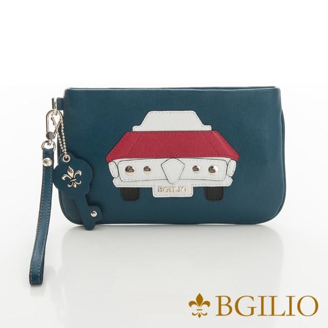 【義大利BGilio】摩登汽車十字紋牛皮小巧萬用包-藍綠色(2282.002-08)