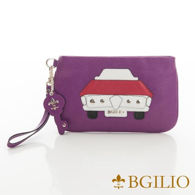 【義大利BGilio】摩登汽車十字紋牛皮小巧萬用包-紫色(2282.002-10)