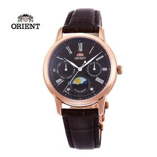 【ORIENT 東方錶】ORIENT 東方錶 SUN&MOON系列 日月相錶 皮帶款 咖啡色-34.8mm(RA-KA0002Y)