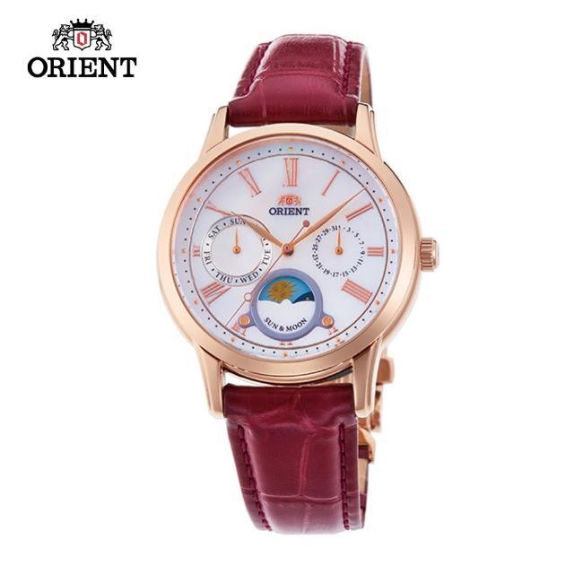 【ORIENT 東方錶】ORIENT 東方錶 SUN&MOON系列 日月相錶 皮帶款 棗紅色-34.8mm(RA-KA0001A)