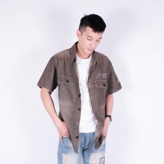 【KUPANTS】古著風刷色短袖襯衫丹寧外套夾克男裝-咖啡7703