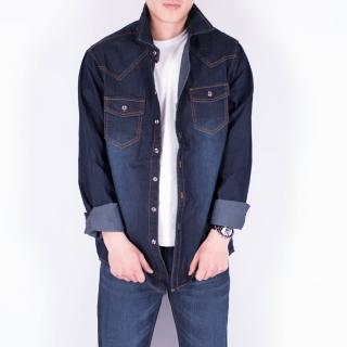 【KUPANTS】長版刷白牛仔襯衫刷色丹寧外套夾克男裝-藍黑8896