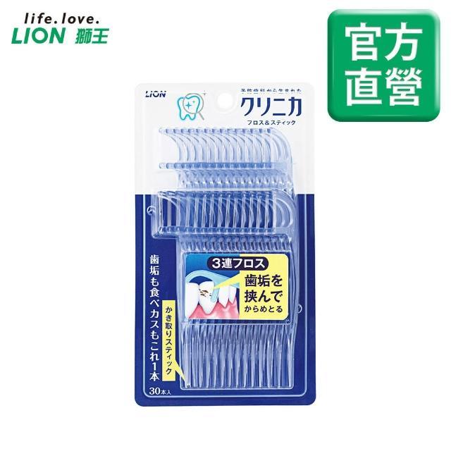 【LION 獅王】日本獅王固齒佳3弦潔勁牙線棒(1盒-65g)