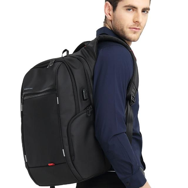 【leaper】KINGSONS 防水防盜USB充電15.6吋電腦後背包 共3色(USB充電筆電包)