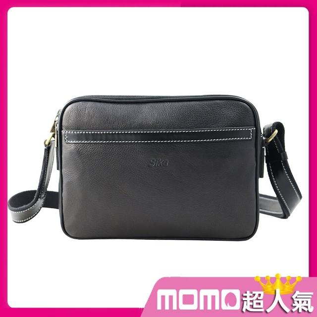 【Sika】意大利时尚牛皮压荔枝纹斜背包(L6073-03质感黑)