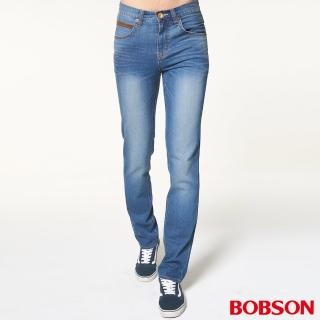 【BOBSON】男款低腰雙袋配皮料直筒褲(藍1833-53)