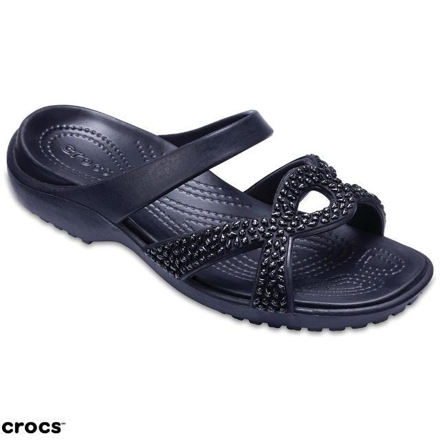 【Crocs】女鞋 女士美俐交叉鑲鑽涼鞋(205101-060)