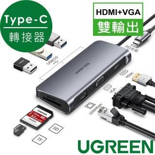 【綠聯】九合一Type-C多功能轉接器HDMI 4K/VGA/USB3.0/SD/TF/PD快充/GigaLAN網路卡