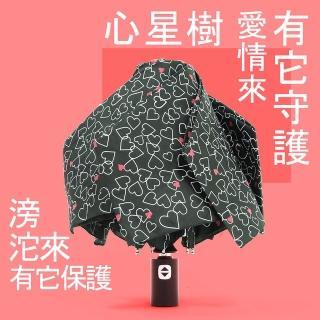 【RainSky】心星樹 - 輕收自動傘_雨傘三折傘防風傘(黑)