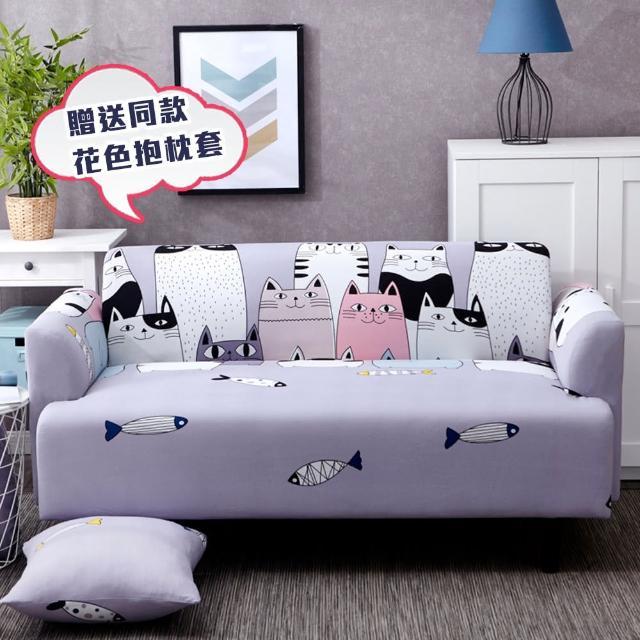 【巴芙洛】貓咪樂園彈性沙發套1人坐★贈送同款抱枕套(1各)