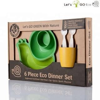 【Lets Go Eco】蝸牛造型兒童餐具六件組(綠色)