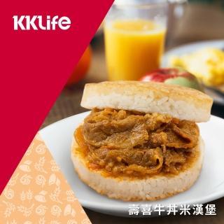 【KKLife】壽喜牛丼米漢堡(170g/顆; 3顆/袋)