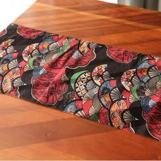 和風茶席長形桌布 桌巾 紅扇子 30*160cm 1入