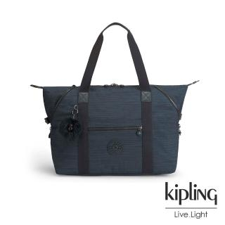 【KIPLING】質感條紋藍手提旅行包-大(ART M)
