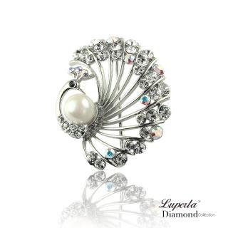 【大東山珠寶】孔雀開屏珍珠銀(晶鑽)