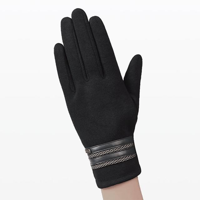 【幸福揚邑】防風觸控手套加絨保暖機車手套-皮飾男款(黑)