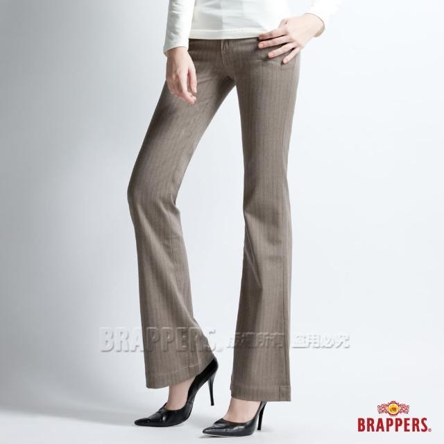 【BRAPPERS】女款 新美腳Royal系列-彈性寬版直條紋大喇叭褲(淺咖啡)