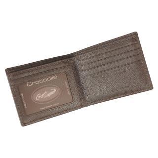 【Crocodile】鱷魚皮件 真皮短夾 12卡 窗格 零錢 男夾 拉鍊零錢男夾 0203-1101-黑咖兩色