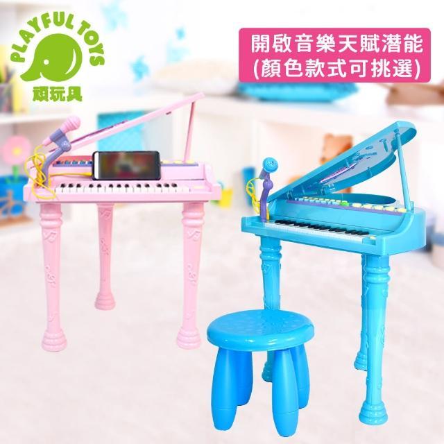 【Playful Toys 頑玩具】32鍵掀蓋電子琴(三角鋼琴掀蓋式 電子琴 電鋼琴 兒童玩具 樂器 外接mp3 附贈麥克風)