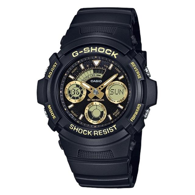 【CASIO 卡西歐】經典街頭時尚 雙顯男錶 樹脂錶帶 黑X金 防水200米 世界時間(AW-591GBX-1A9)