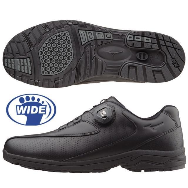 【MIZUNO 美津濃】日本大人氣 WAVE LD40 BOA 免綁鞋帶寬楦健走鞋 B1GC152609(黑)(健走鞋)