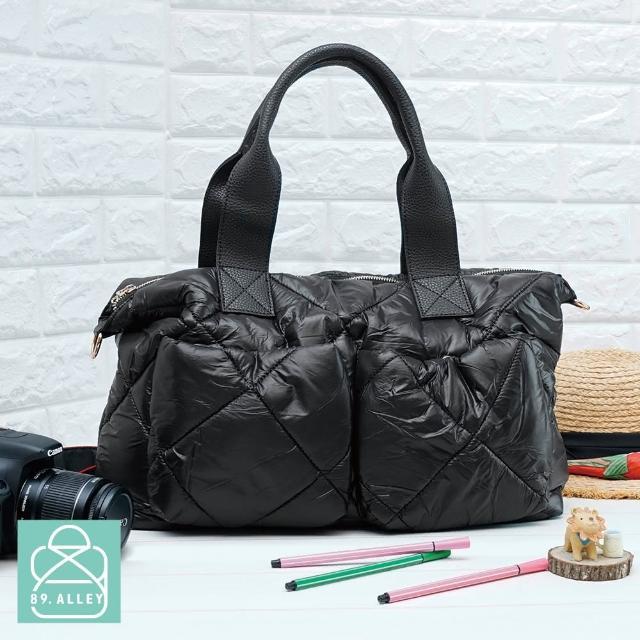 【89.Alley】空氣包 側背包 防潑水大容量兩用手提媽媽包(黑色)