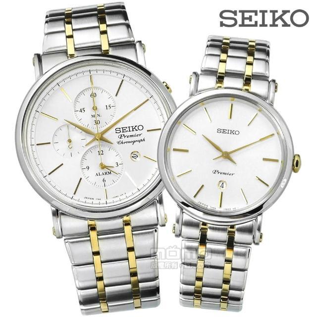 【SEIKO 精工】★贈皮錶帶 Premier不鏽鋼手錶 情侶對錶 銀x鍍金 41+30mm(7T62-0LK0G.7N89-0AY0Y)