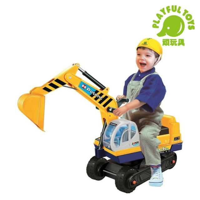 【Playful Toys 頑玩具】乘坐挖土機(挖土機滑步車 幼兒學步車 仿真造型車 兒童玩具 怪手 騎乘玩具 挖掘車)