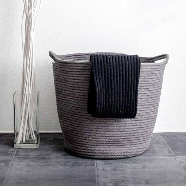 【收納職人】簡約北歐手感棉線編織大容量提把裝飾置物籃/髒衣籃/收納籃(氣質灰)
