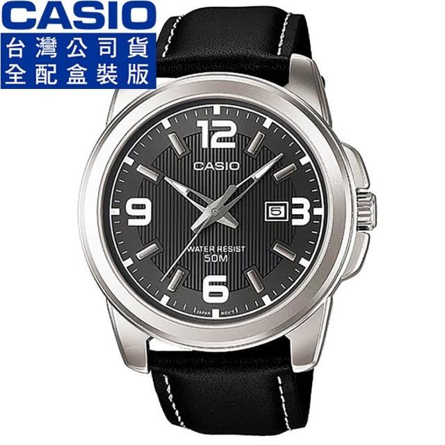 【CASIO 卡西歐】卡西歐簡約石英男皮帶錶-灰黑(MTP-1314L-8A)