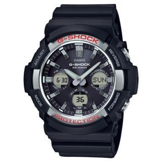 【CASIO 卡西歐】G-SHOCK 太陽能雙顯男錶 樹脂錶帶 黑 防水200米 世界時間(GAS-100-1A)