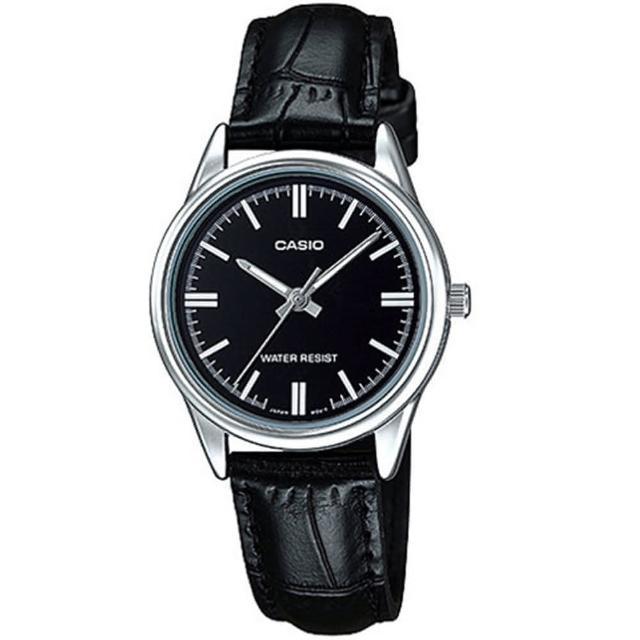 【CASIO 卡西歐】經典淑女時裝時尚指針真皮腕錶(LTP-V005L-1A)