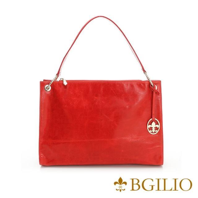 【義大利BGilio】義大利蜡感牛皮夢幻五金肩背方包-紅色(1944.001A-01)