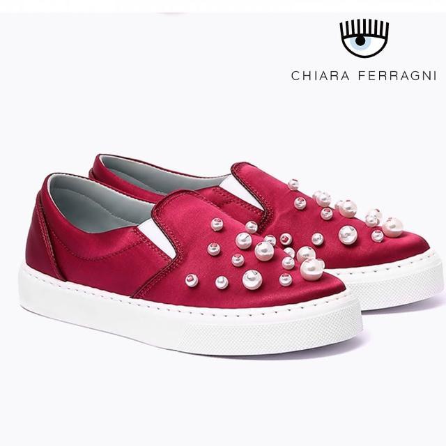 【Chiara Ferragni】珍珠緞面厚底鞋-紅(樂福鞋)
