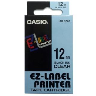 【CASIO 卡西歐】標籤機專用色帶-12mm透明底黑字(XR-12X1)