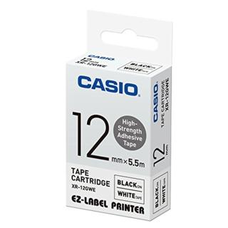 【CASIO 卡西歐】標籤機專用特殊色帶-12mm高黏性材質白底黑字(XR-12GCWE1)