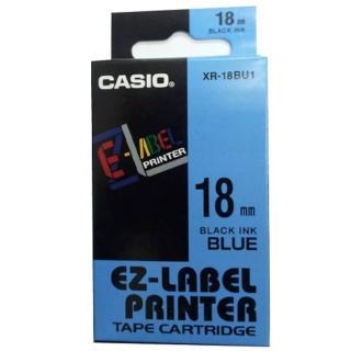 【CASIO 卡西歐】標籤機專用色帶-18mm藍底黑字(XR-18BU1)